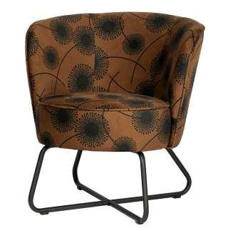 Samt Sessel in Braun und Schwarz Pusteblumen Motiven