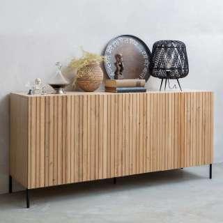 Design Sideboard aus Eiche Massivholz und Metall 180 cm breit