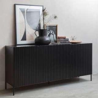 Echtholz Sideboard in Schwarz 180 cm breit