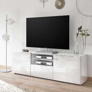 TV Lowboard in Weiß Hochglanz Siebdruck verziert