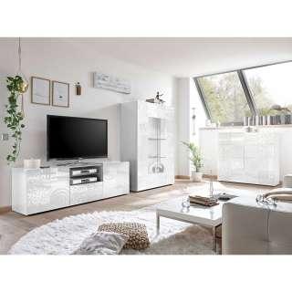 Wohnzimmer Anbauwand in Hochglanz Weiß floralem Siebdruck verziert (3-teilig)