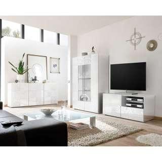 TV Wohnwand in Weiß Hochglanz Siebdruck verziert (3-teilig)