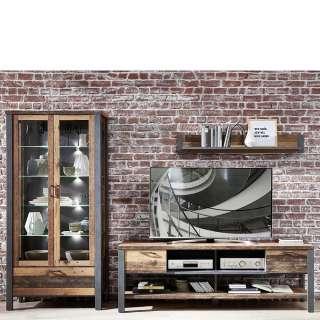 Wohnzimmer Anbauwand in Altholz Optik und Anthrazit LED Beleuchtung (3-teilig)