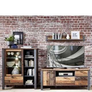 Wohnzimmerschrankwand in Altholz Optik und Anthrazit LED Beleuchtung (3-teilig)