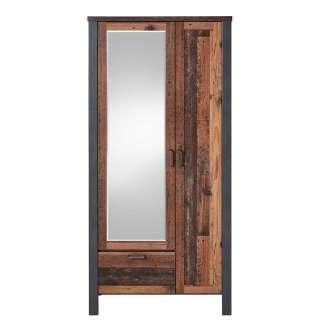 Dielenkleiderschrank in Altholz Optik und Anthrazit Spiegel