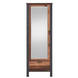Garderobenschrank in Altholz Optik und Anthrazit Spiegel