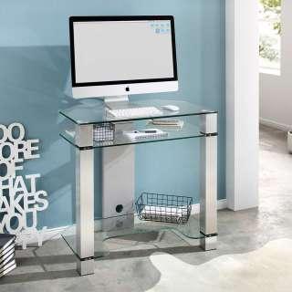 Glas EDV Tisch in Weiß und Alufarben 80 cm breit