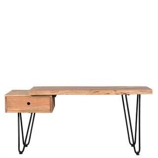 Tisch aus Akazie Massivholz und Metall einer Schublade