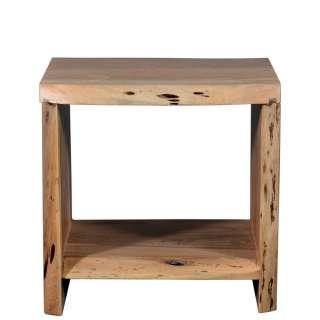 Beitisch aus Akazie Massivholz rustikalen Landhausstil