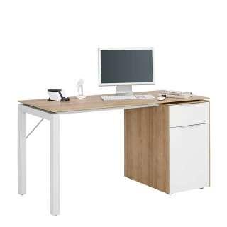 Büro Schreibtisch in Weiß und Eiche Optik 140 cm breit
