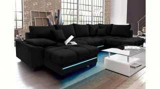 Nova Via Wohnlandschaft, wahlweise mit Kaltschaum (140kg Belastung/Sitz), mit RGB-LED-Beleuchtung, Bluetooth-Soundsystem und Bettfunktion