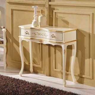 Barock Konsolentisch in Weiß und Goldfarben verziert 80 cm hoch