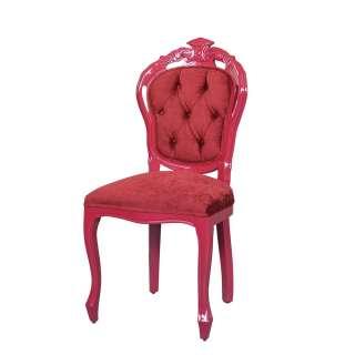 Samt Stuhl in Rot Barock Design