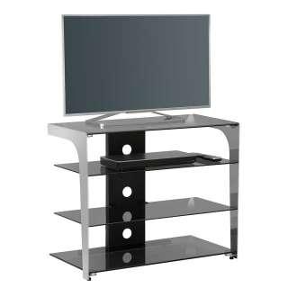 TV Tisch aus Sicherheitsglas und Metall 80 cm breit