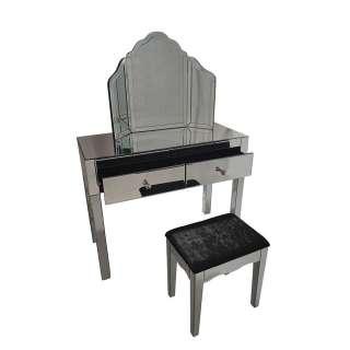 Frisiertisch mit Spiegelglas beschichtet 100 cm breit (3-teilig)
