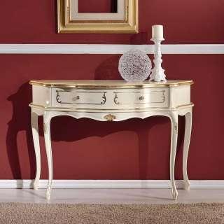 Barock Konsole in Weiß und Goldfarben verziert trapezförmiger Tischplatte
