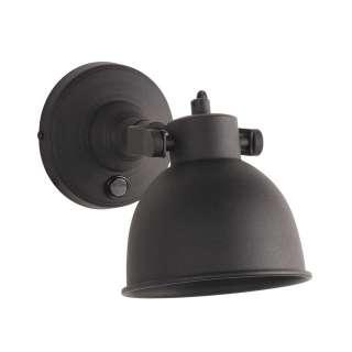 Wandlampe in Schwarz Metall