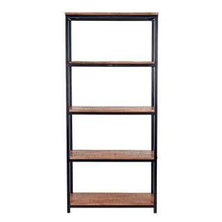Bücherregal aus Mangobaum Massivholz und Metall 80 cm breit