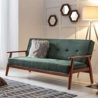 Ausklappbares Sofa in Dunkelgrün Samt Retro Look