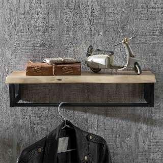 Wandgarderobenleiste aus Akazie Massivholz und Metall naturbelassen