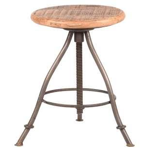 Sitzhocker aus Mangobaum Massivholz und Metall Industriedesign
