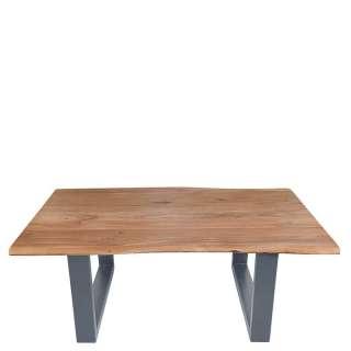 Sitzbank in Jeans Blau Stoff Holzbeinen