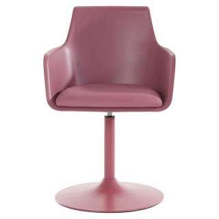 Designerstühle in Rosa Kunstleder drehbar (2er Set)