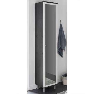 Badezimmer Hochschrank in Dunkelgrau Spiegel