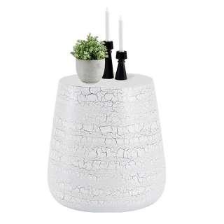 Ausziehtisch mit Säulengestell in Weiß und Wildeiche Dekor