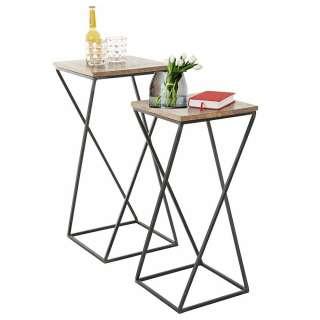 Beitisch Set aus Mangobaum Massivholz und Eisen Loft Design (2-teilig)