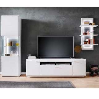 Design Wohnwand in Weiß und Anthrazit 315 cm breit (3-teilig)