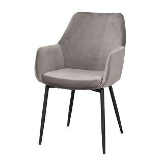 Armlehnenstühle in Grau Samt Skandi Design (2er Set)