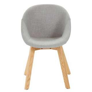 Stühle in Hellgrau Microfaser Massivholzgestell (2er Set)