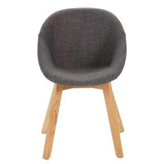Esstisch Stühle in Anthrazit Microfaser Massivholzgestell (2er Set)