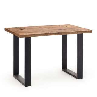 Bartisch aus Eiche Massivholz und Stahl 160 cm breit