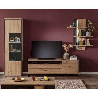 TV Wohnwand in Eichefarben und Anthrazit modern (3-teilig)