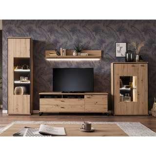Wohnzimmerwand in Eichefarben und Anthrazit modern (4-teilig)