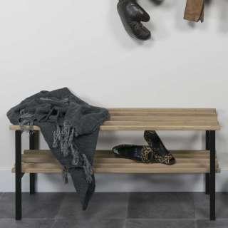 Schuhständer aus Eiche Massivholz und Stahl 100 cm breit