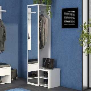 Kompakte Garderobe in Weiß Spiegel