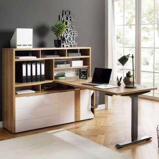 Büromöbel Set in Weiß und Eiche Optik höhenverstellbarem PC Tisch (2-teilig)