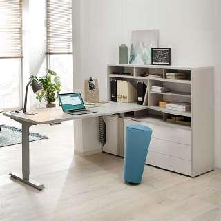 Bürokombination in Weiß und Grau höhenverstellbaren Schreibtisch (2-teilig)