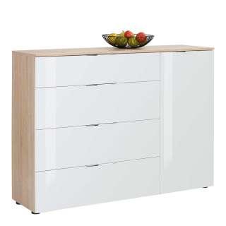 Retro Sideboard in Weiß und Eiche Bianco Schiebetüren