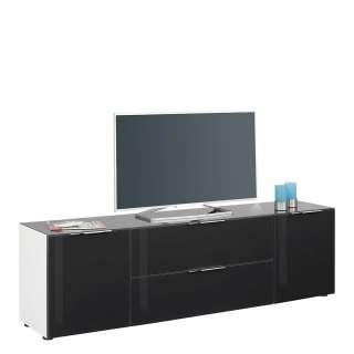 TV Lowboard in Anthrazit Stahl und Sicherheitsglas