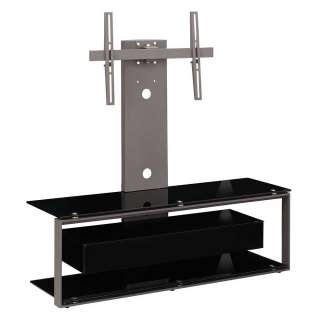 TV Tisch in Schwarz Sicherheitsglas schwenkbarer TV Halterung