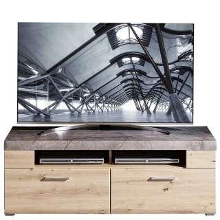 Fernsehlowboard in Graubraun und Wildeiche Optik 140 cm breit
