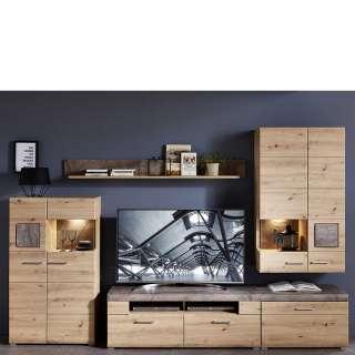 Wohnzimmerwand in Graubraun und Wildeiche Optik 300 cm breit (5-teilig)