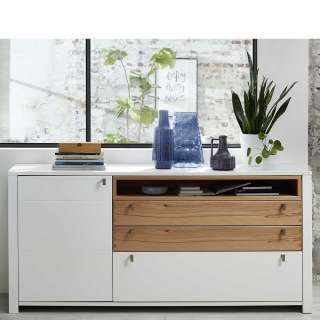 Wohnzimmer Sideboard in Weiß und Wildbuche Optik 90 cm hoch