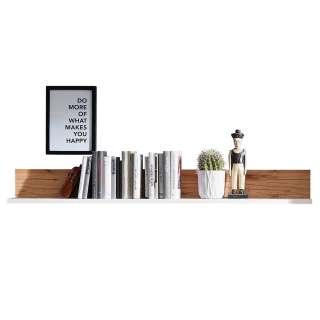 Wohnzimmer Wandboard in Weiß und Wildbuche Optik 140 cm breit