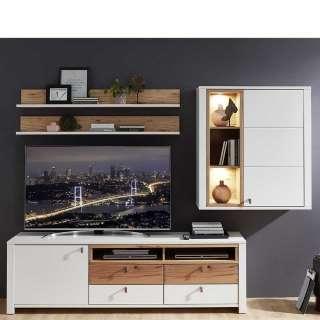 Wohnzimmer Schrankwand in Weiß und Wildbuche Optik LED Beleuchtung (4-teilig)