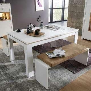 Bank Essgruppe in Weiß und Hellbraun ausziehbarem Tisch (3-teilig)